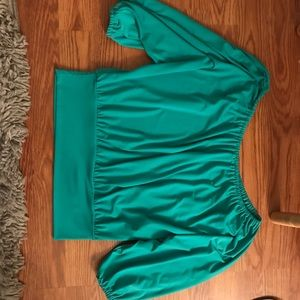 Turquoise off the shoulder silky top